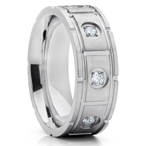d6479cb17d79ef Titanium Wedding Band - Silver Titanium - Men's Wedding Ring - CZ Ring -  Clean Casting