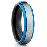 Silver Brush,Tungsten Wedding Band,Blue Tungsten Ring,Handmade,Beveled Edges