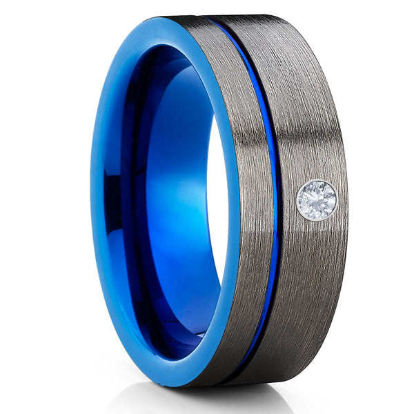 Blue Tungsten Wedding Band - White Diamond Ring - Gunmetal Ring - Brush - Clean Casting Jewelry