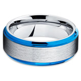 Blue Tungsten Ring - Tungsten Wedding Band - Blue Tungsten - Silver - Clean Casting Jewelry