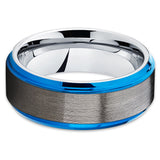 Blue Tungsten Wedding Band - Black - Gray Tungsten Ring - 8mm - Brush - Clean Casting Jewelry