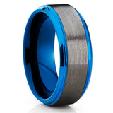 Blue Tungsten Ring - Gunmetal - Tungsten Wedding Band - Gray Ring - Clean Casting Jewelry