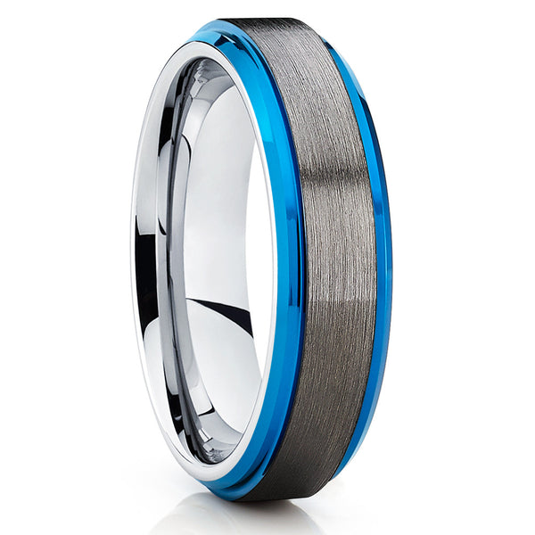 Blue Tungsten Wedding Band - Gray Tungsten Ring - Blue Tungsten Ring - Clean Casting Jewelry