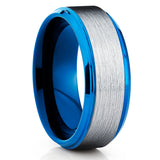 Blue Tungsten Wedding Band - Silver Tungsten - Blue Tungsten Ring - 8mm - Clean Casting Jewelry