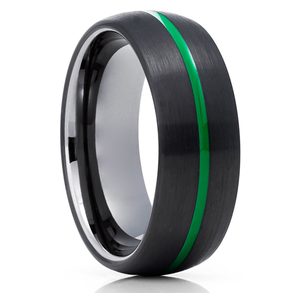 Green Tungsten Wedding Band - Green Wedding Ring - Gunmetal Tungsten Ring - Black Tungsten Ring
