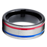 Tungsten Wedding Band - Red Tungsten Ring - Blue Tungsten Ring - Men & Women - Tungsten Carbide
