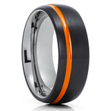 Orange Tungsten Wedding Ring - Gunmetal Tungsten Ring - Black Tungsten Ring - Wedding Band