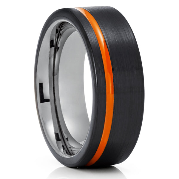 Orange Tungsten Wedding Ring - Black Tungsten Ring - Orange Wedding Ring - Tungsten Wedding Ring