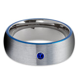 Blue Sapphire Tungsten Ring - Gunmetal Tungsten Ring - Gray Tungsten Band - Clean Casting Jewelry