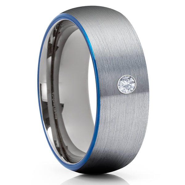 White Diamond Tungsten Ring - Gray Tungsten Ring - Blue - Gunmetal Ring - Clean Casting Jewelry