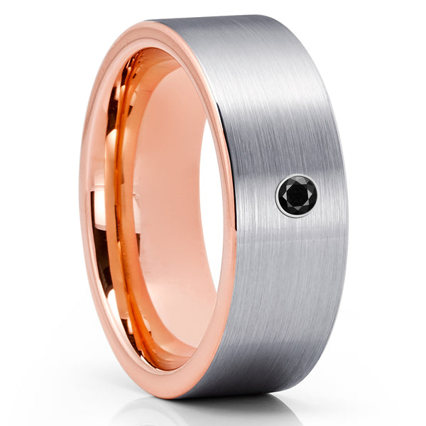 Rose Gold Tungsten Ring - Black Diamond Ring - Rose Gold Tungsten Band- Brush - Clean Casting Jewelry