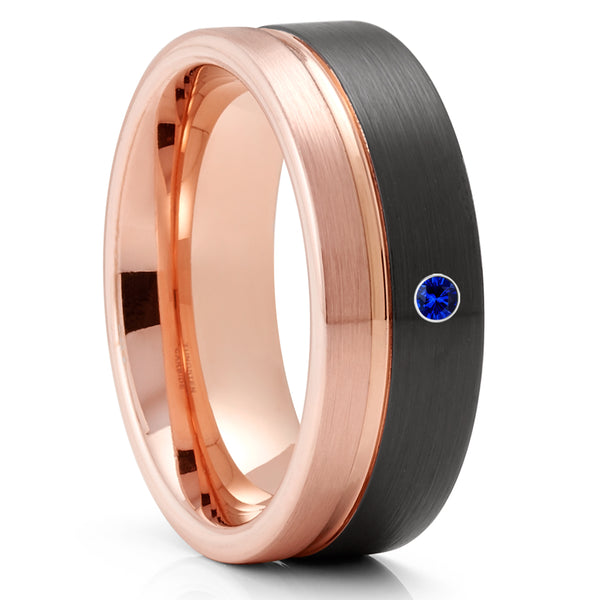 Blue Sapphire Tungsten Wedding Ring - Rose Gold Tungsten Ring - Black Tungsten Ring - 8mm Ring - Anniversary Band