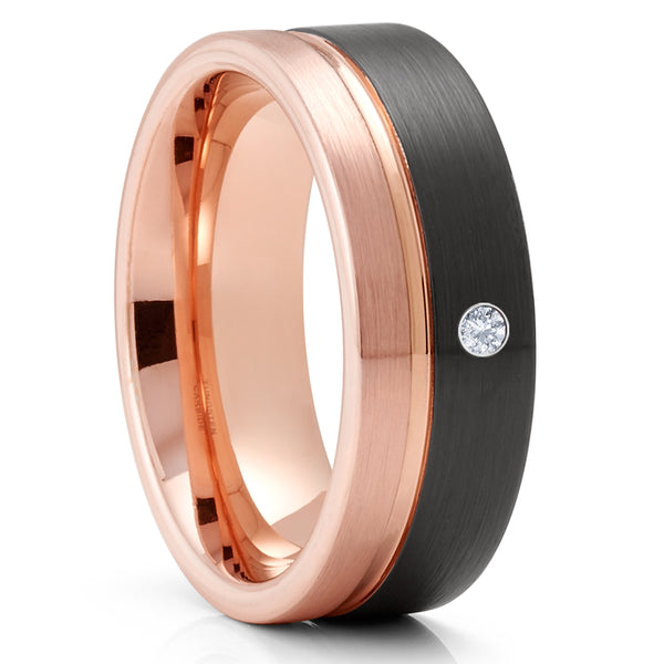 White Diamond Wedding Ring - Black Tungsten Ring - 18k Rose Gold - Tungsten Carbide - 8mm Wedding Ring