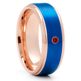 Ruby Tungsten Wedding Ring - Rose Gold Tungsten Ring - Anniversary Ring - Men & Women - Blue Tungsten Ring - Unique Ring
