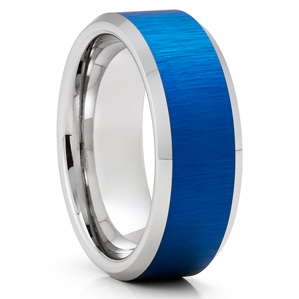 Blue Tungsten Wedding Ring - Blue Wedding Band - Tungsten Carbide Ring - 8mm Ring - Unique Ring