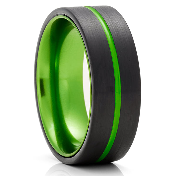 Green Wedding Ring - Green Tungsten Ring - Anniversary Ring - Black Tungsten Ring - Comfort Fit
