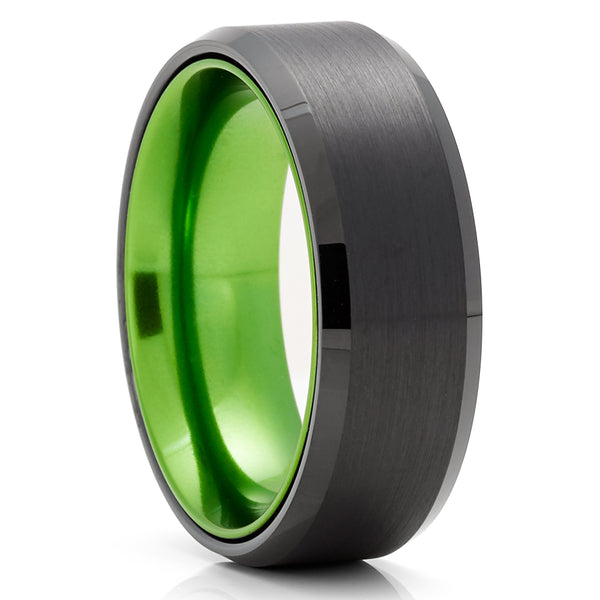Green Wedding Ring - Green Tungsten Ring - Anniversary Ring - Black Tungsten Ring - Men & Women