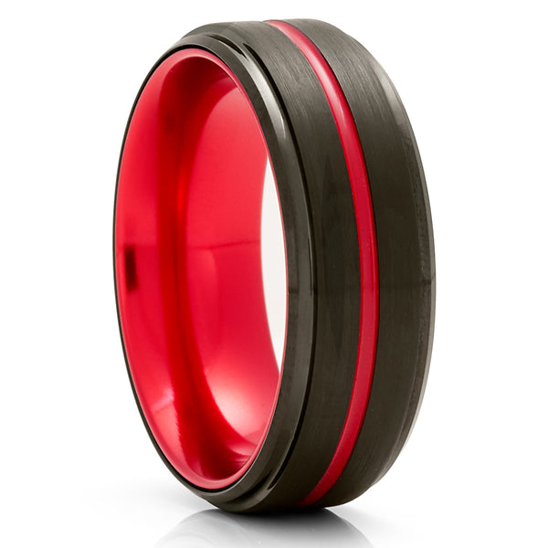 Red Tungsten Wedding Ring - Red Wedding Ring - Black Tungsten Ring - Tungsten Carbide Ring