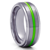 Gunmetal Tungsten Wedding Ring - Green Tungsten Ring - Men & Women - Gunmetal Wedding Ring