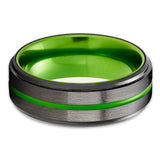 Green Tungsten Ring - Gunmetal Tungsten Wedding Band - Anniversary Ring - Green Wedding Ring - Brush Ring