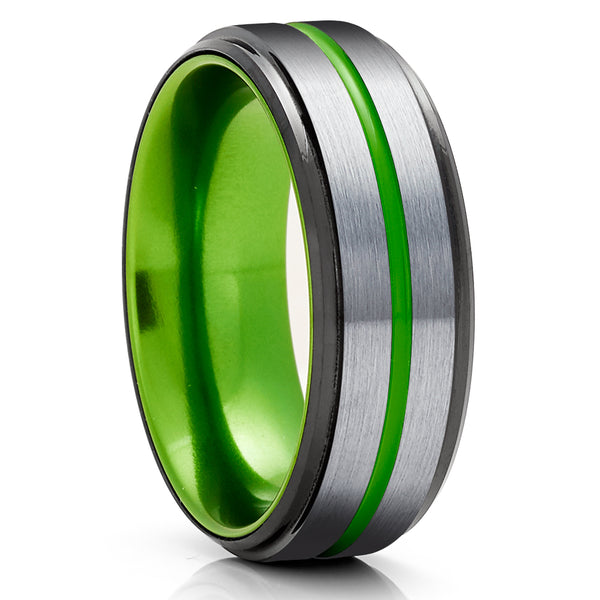 Gray Tungsten Wedding Ring - Green Tungsten Ring - Black Tungsten Ring - Anniversary Ring - Green Ring