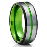 Black Tungsten Wedding Band - Green Tungsten Wedding Ring - Green Tungsten Wedding Band - Brush Ring