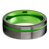 Gunmetal Tungsten Wedding Ring - Green Wedding Ring - Gunmetal Tungsten Band - Men & Women
