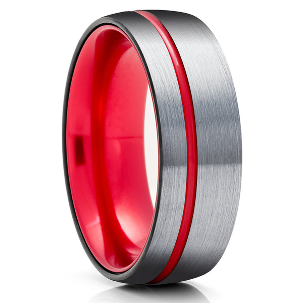 Red Tungsten Wedding Ring - Red Wedding Band - Anniversary Ring - Black Tungsten Ring - Red Ring - Comfort Fit