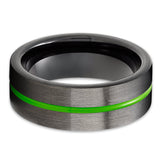 Gunmetal Tungsten Ring - Green Tungsten Ring - Anniversary Ring - Black Tungsten Ring - Green