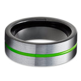 Green Tungsten Wedding Ring - Black Tungsten Ring - Green Wedding Band - Tungsten Carbide Ring