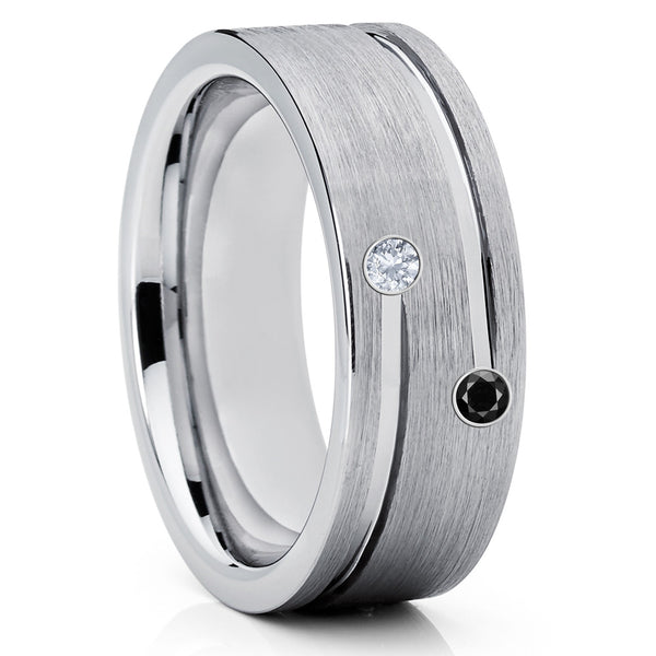 Tungsten Wedding Band - Silver Tungsten Ring - White Diamond Ring - 8mm - Clean Casting Jewelry