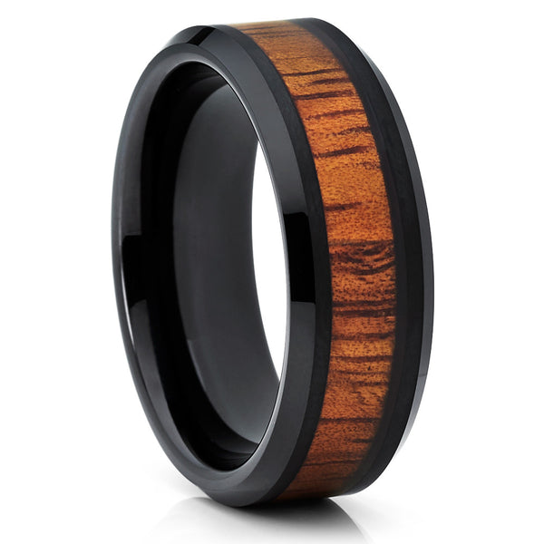 Koa Wood Tungsten Ring - Black Tungsten Band - Koa wood Ring - 8mm - Clean Casting Jewelry