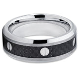 8mm,Carbon Fiber Tungsten Ring,Black Carbon Fiber Ring,Tungsten Wedding Band