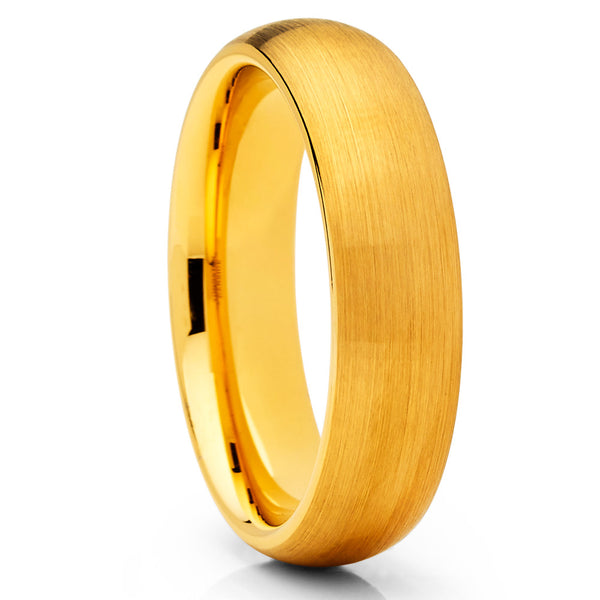 Yellow Gold Tungsten Band - 6mm - Yellow Gold Tungsten Ring - Brush Ring