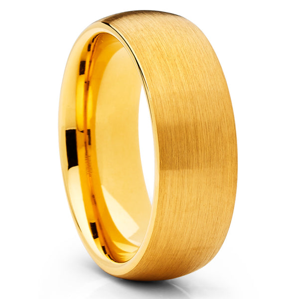 Yellow Gold Tungsten Band - Men's Wedding Band - 8mm - Yellow Gold Tungsten - Clean Casting Jewelry