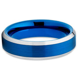 Blue Tungsten Wedding Band - 6mm - Blue Tungsten - Brush - Silver Edges - Clean Casting Jewelry