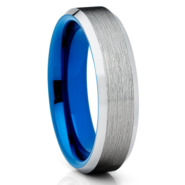 6mm Blue Tungsten Ring - Silver Brushed - Tungsten Wedding Band Beveled - Clean Casting Jewelry