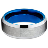 8mm,Blue Tungsten Ring,Brushed Finish,Beveled,Blue Tungsten Band,Engagement Ring