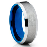 8mm Blue Tungsten Wedding Band - Beveled Edges - Tungsten Wedding Ring - Clean Casting Jewelry
