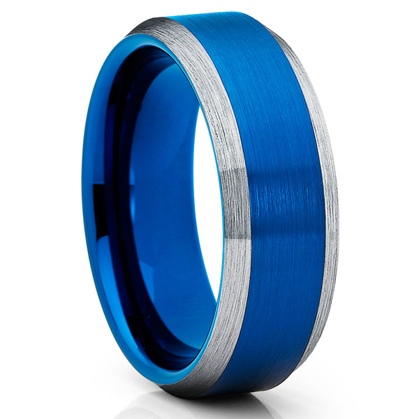 8mm -  Blue Tungsten Ring - Blue Wedding Band - Gray Tungsten Ring - Clean Casting Jewelry