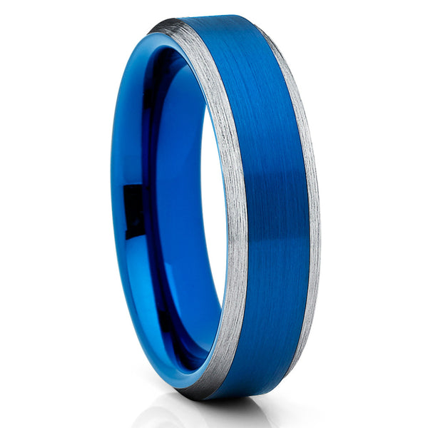 Blue Tungsten Wedding Band - Blue Ring - Brush Edges - 6mm - Brush Ring - Clean Casting Jewelry