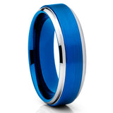 6mm,Brushed Blue Tungsten,Unique Tungsten Ring,Tungsten Carbide Ring,Blue Ring