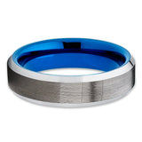 6mm,Gunmetal Tungsten Ring,Tungsten Carbide,Blue Tungsten Ring,Anniversary