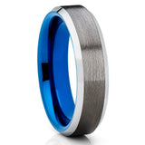 Blue Tungsten Wedding Band- 6mm Blue Tungsten - Gray Tungsten Ring - Clean Casting Jewelry