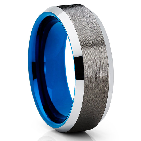 Men's Blue Tungsten Ring - 8mm - Blue Tungsten Ring - Gunmetal Tungsten Ring - Clean Casting Jewelry