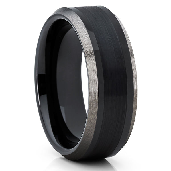 Black Tungsten - 8mm - Black Tungsten Wedding Band - Gunmetal Ring - Clean Casting Jewelry