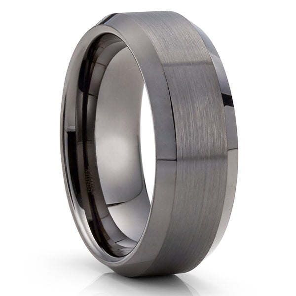 Gunmetal Tungsten Ring - Gray Tungsten Band - 8mm Wedding Band - Brush - Clean Casting Jewelry