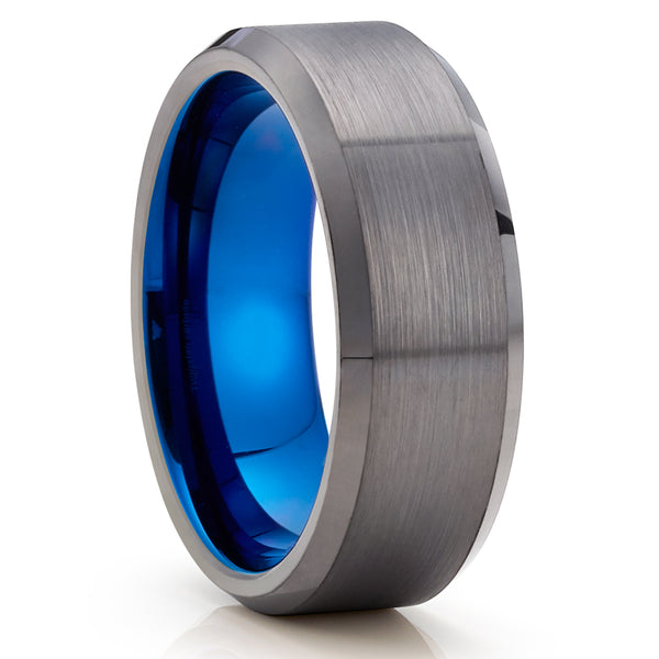 Gunmetal Tungsten Ring - Blue Tungsten Ring - Gray Wedding Band - Brush - Clean Casting Jewelry