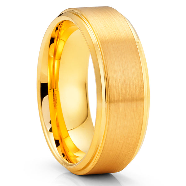 Yellow Gold Tungsten Ring - 8mm - Yellow Gold Tungsten Band - Anniversary Ring - Clean Casting Jewelry