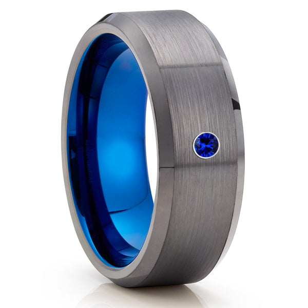 Blue Sapphire Tungsten Ring - Gunmetal Tungsten Ring - Gray Tungsten Ring - Clean Casting Jewelry